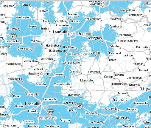 Bluegrass Cellular LTE Cover Map 24102012