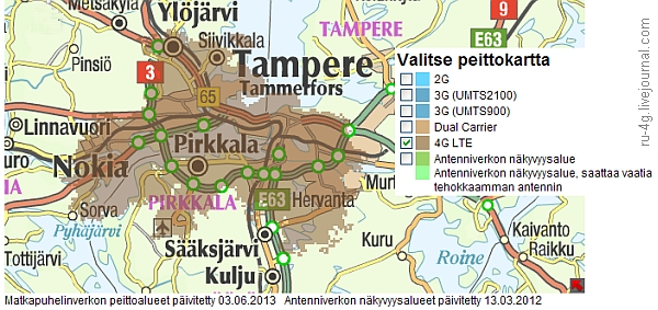 DNA Tampere LTE Cover map