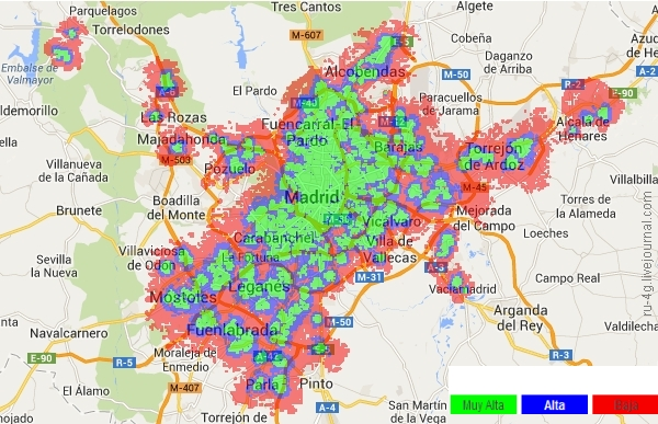 Vodafone Spain LTE Cover Map Madrid