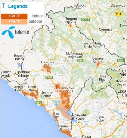Telenor Montenegro LTE Cover Map