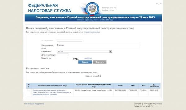 Федеральная налоговая служба   Сведения  внесенные в Единый государственный реестр юридических лиц