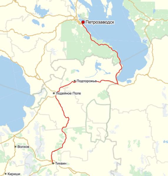 Петрозаводск-Онежское оз-Тихвин