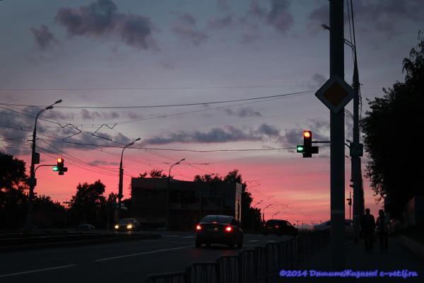 Розовый закат в Ижевске