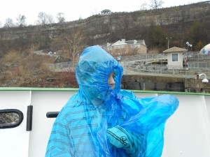 Buddy's rain poncho billows in the FREEZING wind.