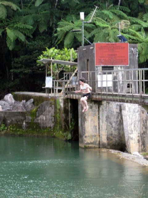 Gio jumping off the bridge