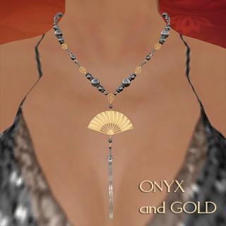 Onyx Fan Necklace