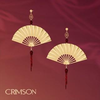 Crimson Fan Earrings