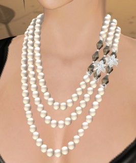 Celine Pearl Necklace (White Pearl, Black Crystal, Silver)