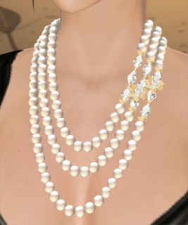 Celine Pearl Necklace (White Pearl, White Crystal, Gold)