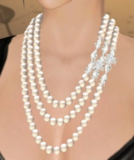 Celine Pearl Necklace (White Pearl, White Crystal, Silver)
