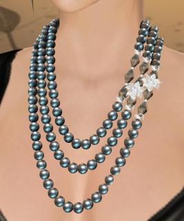 Celine Pearl Necklace (Black Pearl, Black Crystal, Silver)