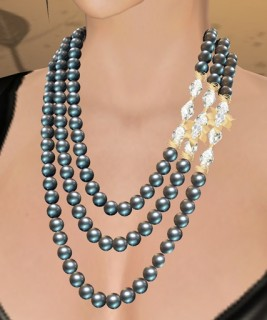 Celine Pearl Necklace (Black Pearl, White Crystal, Gold)
