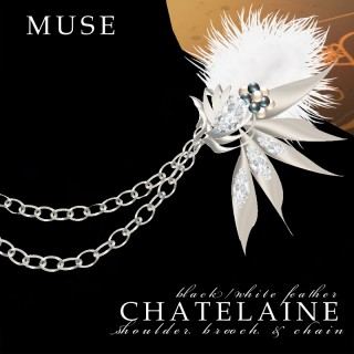 Chatelaine Shoulder Brooch & Chain (Silver)