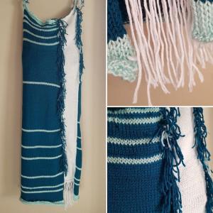 Rain gauge tube dress in blue and white