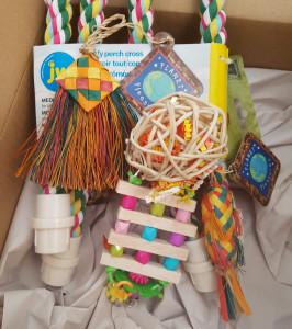 Assortment of bird toys
