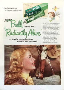 Prell shampoo ad featuring a blonde woman