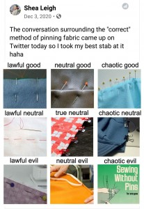 Image shows a D&D style ranking of pinning styles from lawful to chaotic, etc.