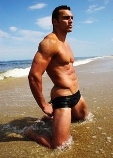 cold wet beach man