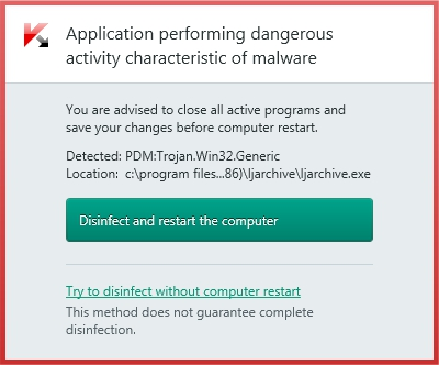 Application performing dangerous activity characteristic of malware