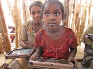 Two girls in Ethiopia Literacy Pilot