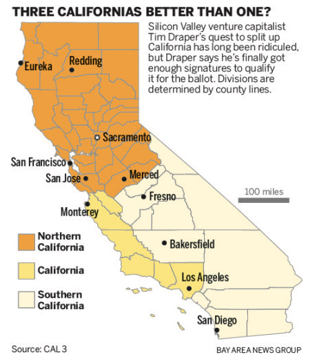 Draper 2018 proposal to split California (image courtesy Bay Area News Group)