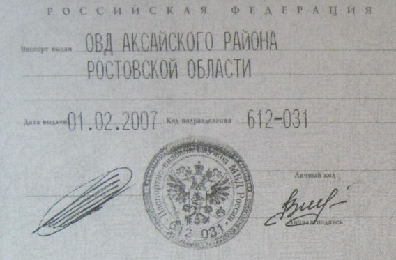Паспорт Сычева ВВ