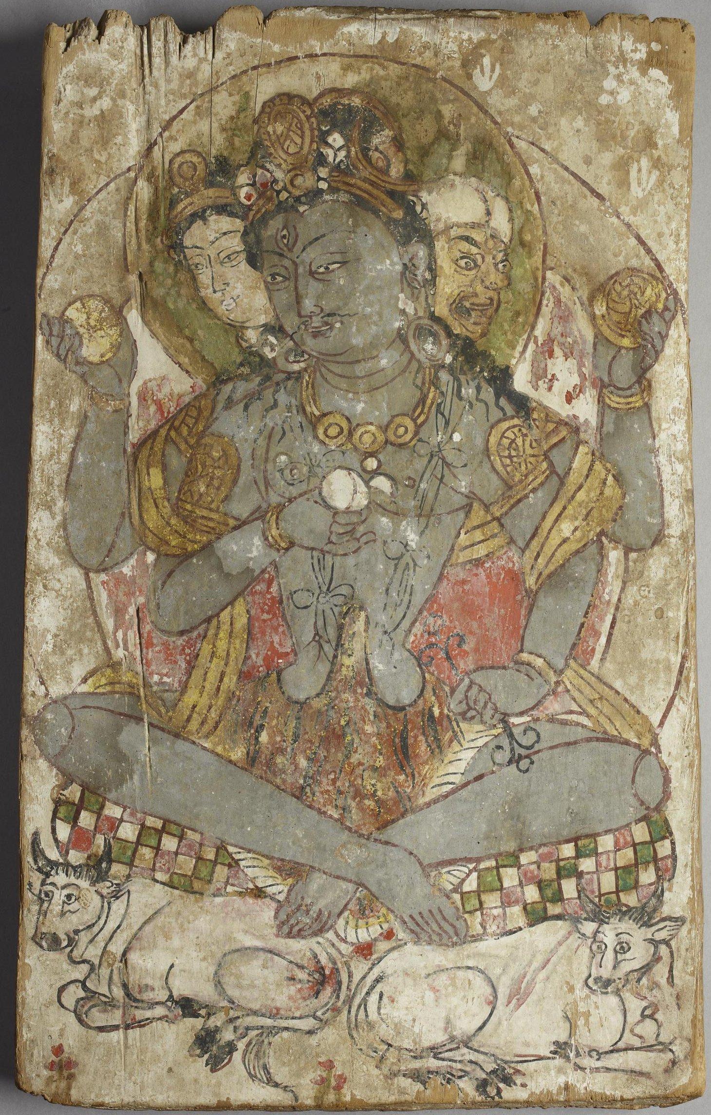 13. Шива в образе Махешвары. Дандан-Ойлык, Хотан, 7-8 в. Британский музей