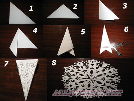 Новогодние снежинки из бумаги как их сделать