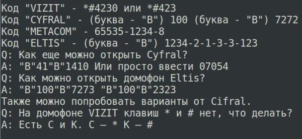 коды домофонов