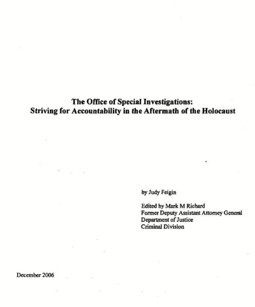 2006 Report on OSI