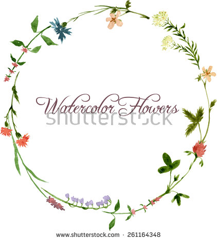 stock-vector-vector-watercolor-floral-frame-with-wild-flowers-hand-drawn-template-261164348