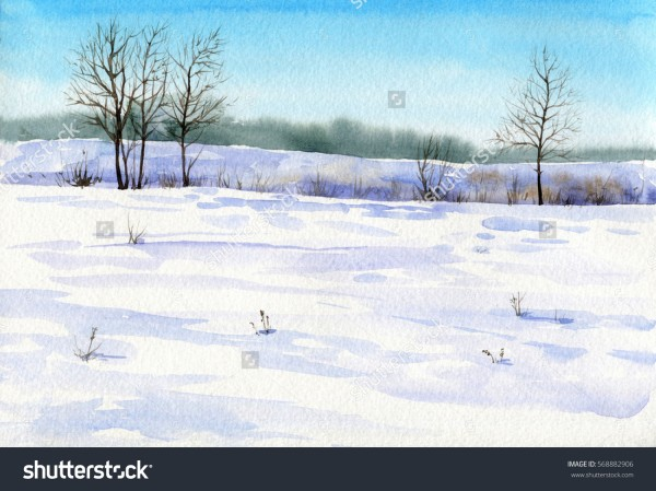 stock-photo-winter-watercolor-landscape-with-snow-sunlight-blue-sky-and-trees-hand-drawn-artistic-background-568882906