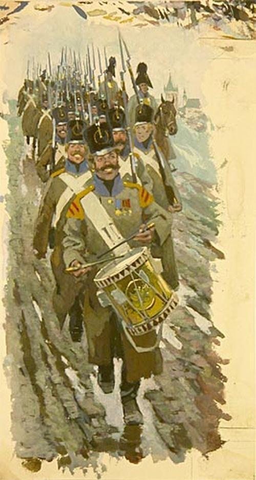 Солдаты на марше 1971 1975 Николаев Бор панорама