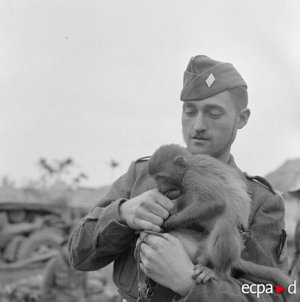 Старший сержант с обезбянкой фев 1952 Ги Дефив Дефивес