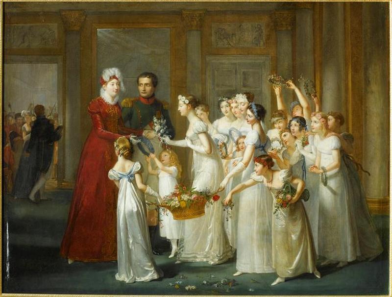 02 Прибытие МЛ в Компьень 28 мар 1810 1018 П Озу Auzou МЛ принимает приветст и цветы от гр дев в Комп в 9 вечера Версаль
