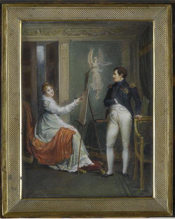 11 МЛ рисующая портрет Наполеона 19 в нессесер Мальмезон
