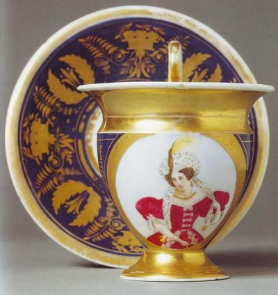 дама чашка 1833 завод Сафронова