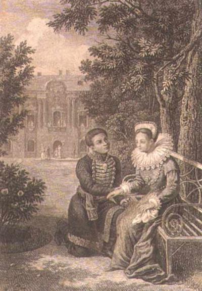 Дмитрий Самозванец и М Мнишек в саду Самборского замка чашка 1820-е гравюра Галактионова