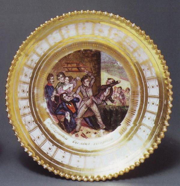 Жизнь игрока 1830-е тарелка Гжель