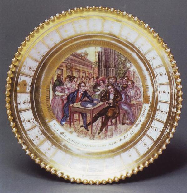 Жизнь игрока 1830-е тарелка Гжель2