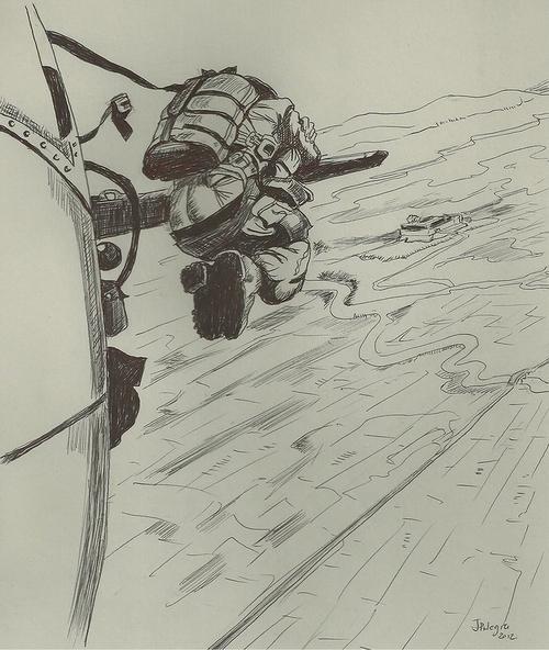 парашютист в воздухе