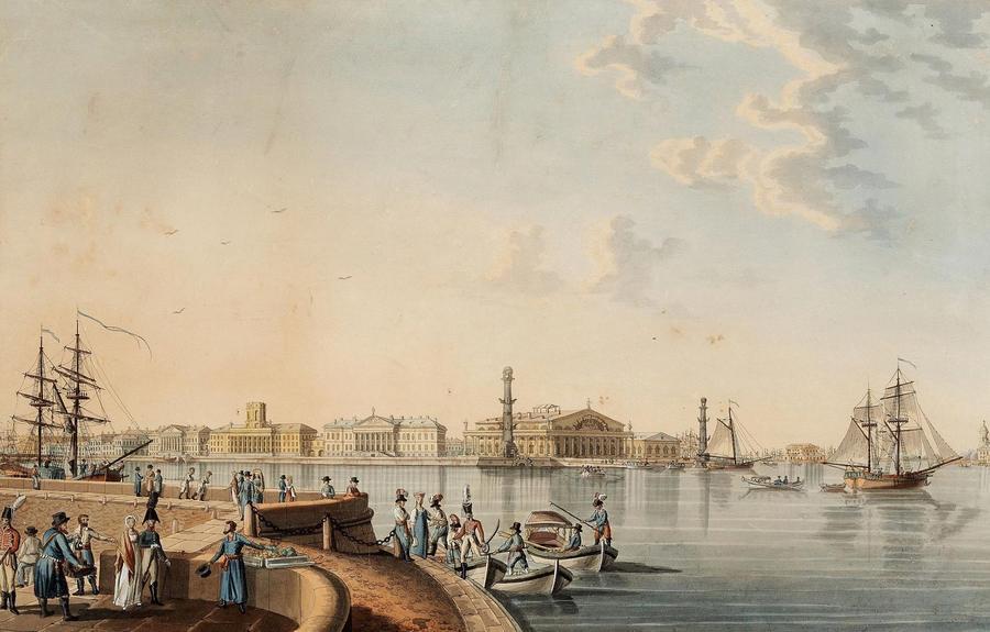 Вид на стрелку Вас острова 1807 Патерсен Муз Пушкина СПб