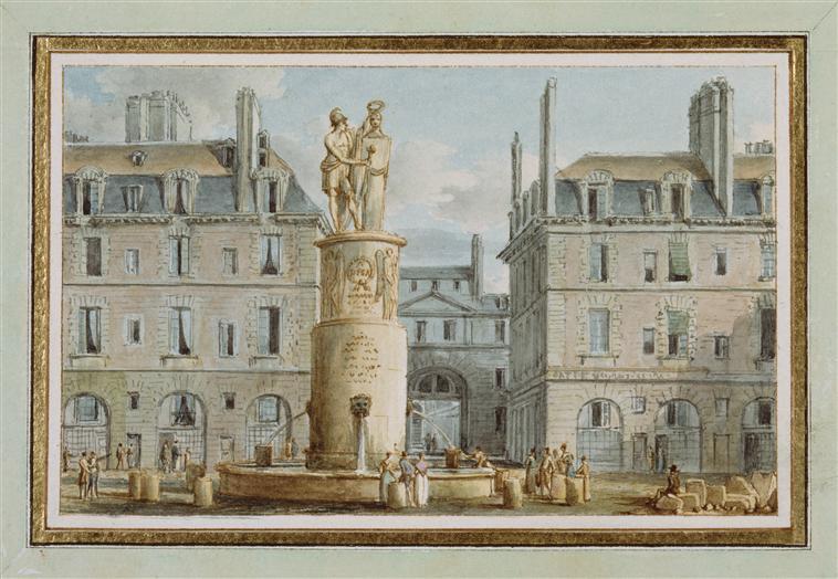 Вид памятника генералу Дезе служ также общ фонтаном в Париже 1810 ок Виктор-Жан Николлль Мальмезон