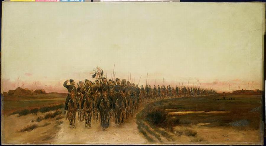 Возвращение в лагерь в Красном Селе казаков Атаманского полка ок 1890 Ж-Б-Э Детай Музей армии