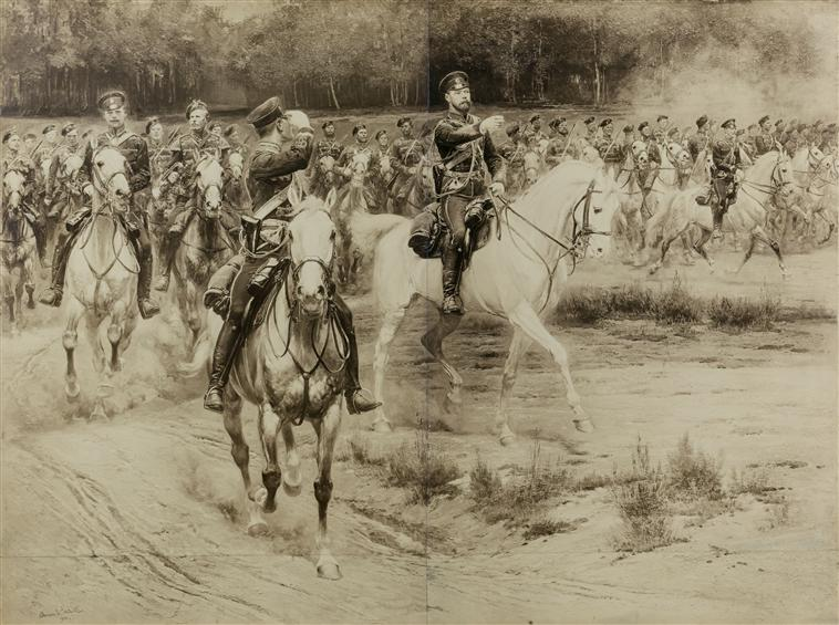 Царь Николай 2 ком  маневром 1900 фото картина Детай Муз армии