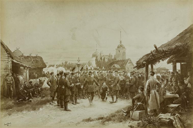 Танец или бивуак имп конвоя в Красном селе 1889 фото картина Детай Муз армии