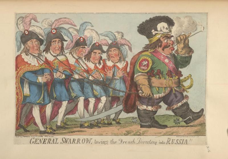 Генерал Суворов выгоняющий войска директории из России 1799
