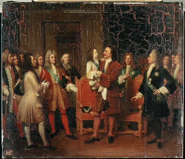 12 Людовик 15 наносит визит царю Петру в особняке Ледигьеров 10 мая 1717  18 в Л М Ж Эрсан Hersent Версаль