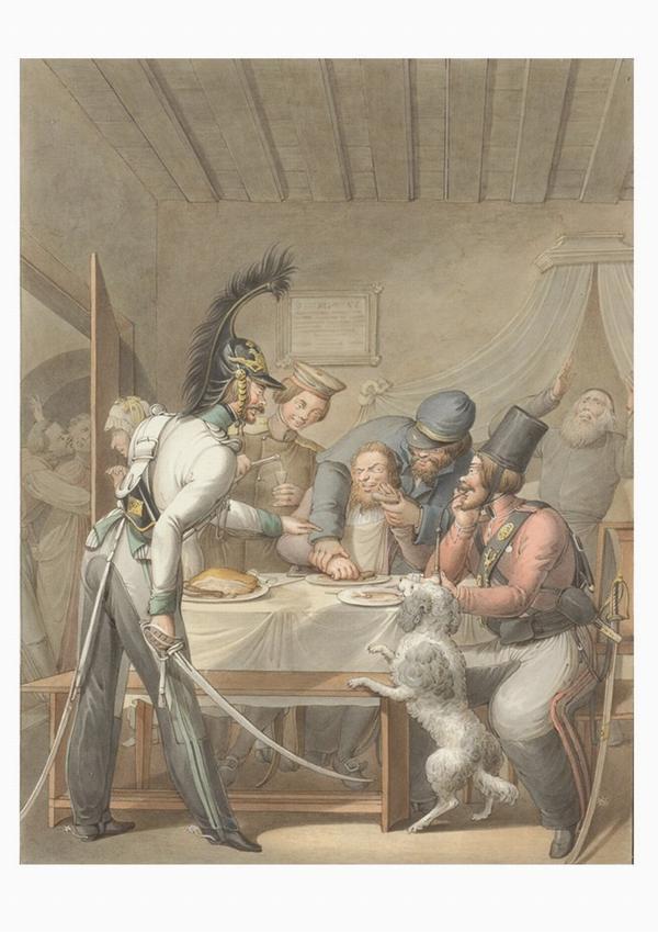 Русские солдаты заставляют еврея есть свинину  1810-е Опиц2