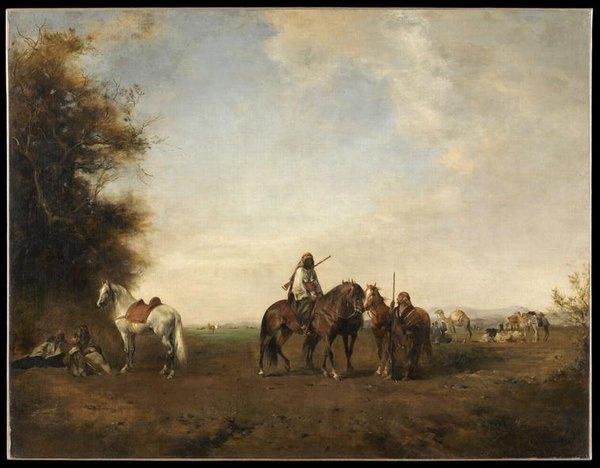 Привал арабских всадников 19 в Фромантен Лу3вр